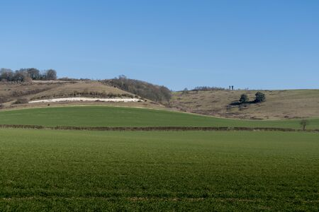 Landscape view of the North Downs and Pilgrims Way at Detling, Kent, UK Фото со стока