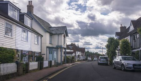 Street view of the village of Burwash, East Sussex, UK