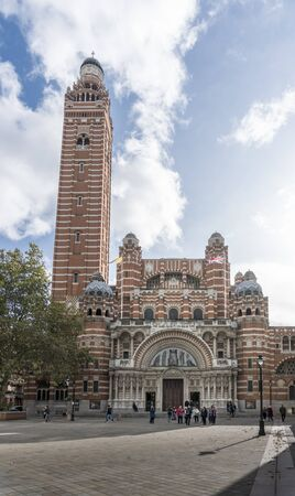 The front of Westminster Cathedral in the city of Westminster, London, UK