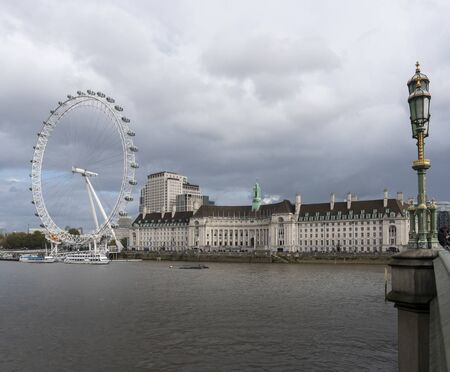 View of the South Bank of the River Thames from Westminster, London, UK