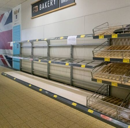 Empty bakery shelves in the supermarket due to coronavirus panic buying