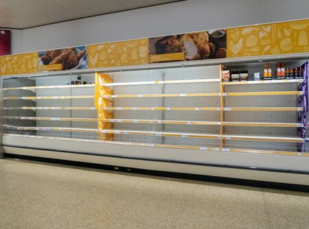 Empty poultry shelves in the supermarket due to coronavirus panic buying