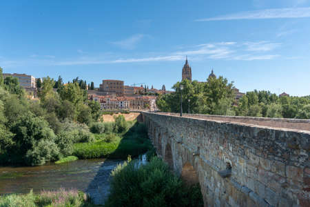 View of the ancient city of Salamanca, Spain, and the ancient Roman bridge over the River Tormes