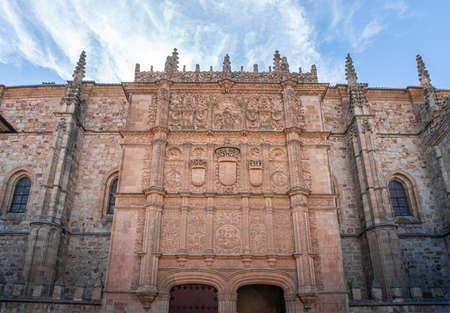 Ornate facade of the University entrance  in the city of Salamanca, Spain