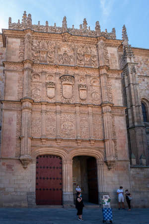 Ornate entrance of the University of Salamanca  in the city of Salamanca, Spain