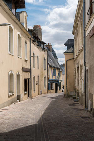 Street view of the town of Sable sur Sarthe, France 免版税图像