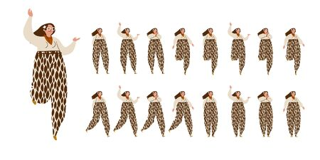 Girl dances. Big set of characters in various positions. Happy long-haired woman with in speckled trousers in Scandinavian style stays, dances, walks. Vector illustration EPS10 isolated on white Illustration