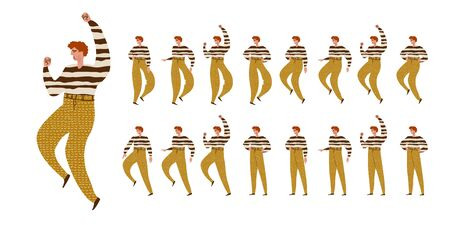 Man dances. Big set of characters in various positions. Happy man with curly hair in striped sweater in Scandinavian style stays, dances, walks, jumps. Vector illustration EPS10 isolated on white