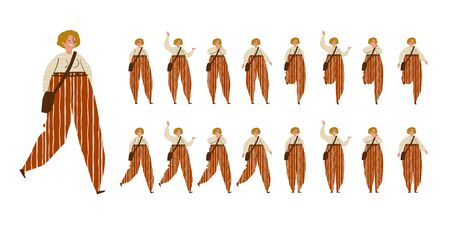 Girl dances. Big set of characters in various positions. Happy woman with blond short hair, bag, striped trousers in Scandinavian style stays, dances, walks, jumps. Isolated vector illustration EPS10