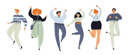 Happy people dance. Set of cartoon characters in positions. Funny people in casual textured clothes with accessories rejoice at party. Vector illustration EPS10 isolated on white in Scandinavian style