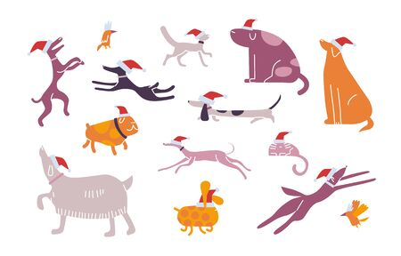 Funny christmas pet set. Winter fun. Collection of Happy friends play, walk outdoor. Animals celebrates new year. Shelter party for dogs, cats, birds. Holiday vector illustration isolated on white
