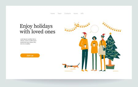 Landing page. Party around Christmas tree. Happy friends communicate, enjoy outdoor. Company celebrates new year. People dressed in winter clothes. Holiday vector illustration isolated on white