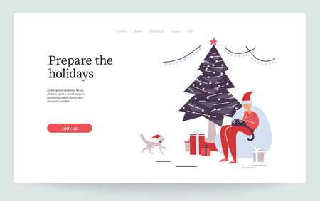 Merry Christmas. Happy new year. Old women cuddle her domestic animal. Funny granny celebrate with pets. Cat party. Christmas tree. Landing page, vector illustration EPS 10 isolated on white Ilustracja