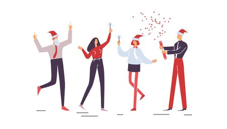 Merry Christmas. People jollify together. Collection of Happy workers having fun at corporate party with sparklers. Company celebrates new year. Holiday vector illustration EPS10 isolated on white Illustration