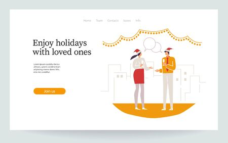 Merry Christmas. Happy new year. A couple of people have conversation. Friends celebrate together. Man and woman jollify. Corporate party. Landing page, vector illustration EPS 10 isolated on white
