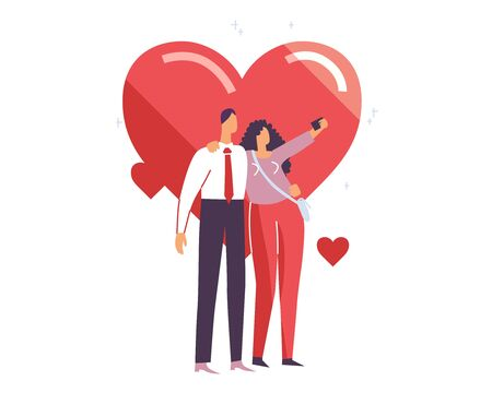 Boy and girl make selfie on St. Valentines day, 14th of February. Man and woman take photo on dating. Couple of people hug together. Married people love. Vector illustration EPS 10 isolated on white Illustration