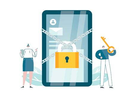 Cybersecurity app works. Protection software for smartphones blocks access. Safety for devices. Verification message requires code. Blue, yellow concept vector illustration EPS 10 isolated on white
