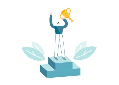 Businessman proudly standing on the winning podium holding up trophy. Blue and yellow colored picture. Man became winner. Corporate worker got achievement. Vector illustration EPS 10 isolated on white