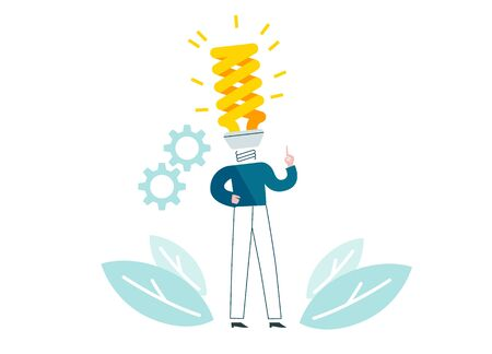 Man with energy-saving lamp instead of head generates ideas. Businessman knows solution. People work in solving a problem. Blue and yellow conceptual vector illustration EPS 10 isolated on white