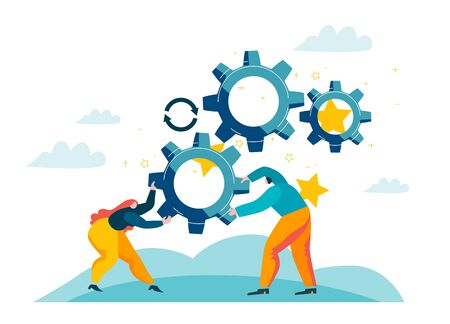 Corporate workers generate ideas. People twist gears in mechanism. Harmonious teamwork on enterprise. Blue and orange colored picture. Concept vector illustration EPS 10 isolated on white Illustration