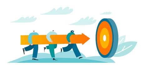People carry big arrow to target. Corporate workers have achievement. Team reaches the goal. Blue and orange conceptual vector illustration EPS 10 isolated on white Vector Illustratie