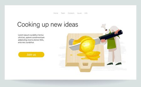 Cooking up new ideas. Chef comes up with recipe. Character slices bright bulb by big knife. Landing page, green and yellow colored conceptual vector illustration EPS 10 isolated on white 일러스트