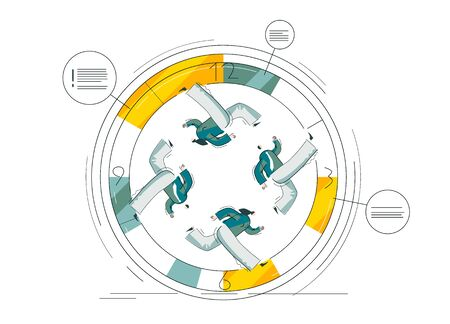 People are running fast in circles. Busy men and women make schedule. Workers work non-stop. Clock reminds about deadline. Yellow and blue colored illustration isolated on white. Linear vector EPS 10