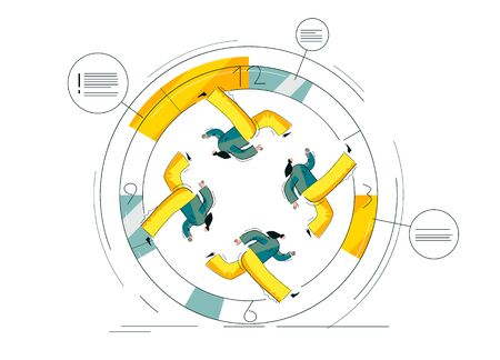 Women are running fast in circles. Feminists struggle. Busy people make schedule. Workers work non-stop.Yellow and blue colored illustration isolated on white. Linear vector EPS 10