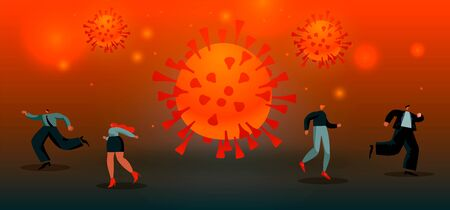 Virus spreads. Coronavirus . people run from the big red virus. Concept of epidemic vector illustration EPS 10 red and black colored