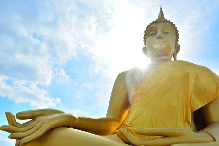 Huge golden Buddha Located in Lam Luk Ka photo