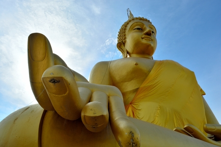 prodigious: Huge golden Buddha Located in Lam Luk Ka Stock Photo