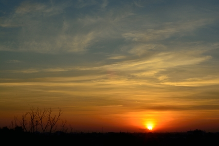 gaily: Beautiful morning sunrise already built gaily.