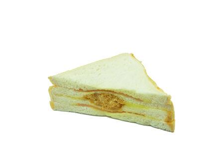 palatable: Pork bologna sandwich with mayonnaise extremely palatable. Stock Photo