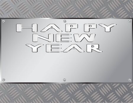 steel sheet: Sheet steel with embossed letters happy new year.