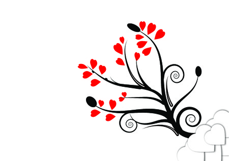 lull: Vector tree of love with bright white background picture day lull in love. Illustration