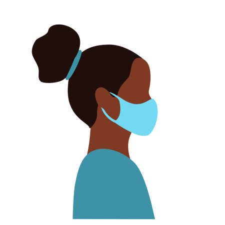 Black young female doctor head in blue medical mask side view. flat vector illustration. Çizim