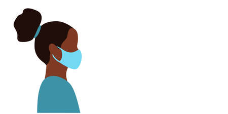 Banner with empty space for text. Black young female doctor head in blue medical mask side view. flat vector illustration Çizim
