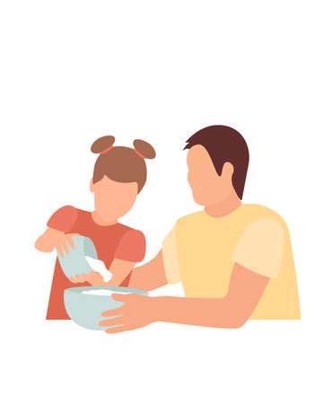 male dad and baby daughter are preparing cookies. flat vector illustration, front view. father s day.