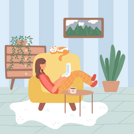 young woman girl sitting on an armchair in home clothes with laptop. what to do in quarantine. flat vector cartoon illustration.