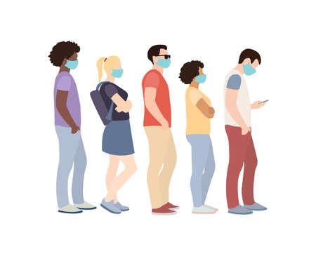 Full length of cartoon sick people in medical masks standing in line against white background. Векторная Иллюстрация