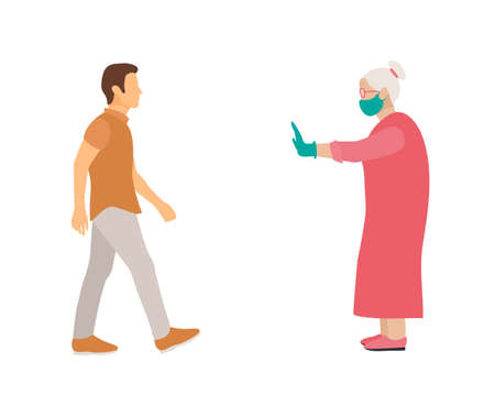 elderly woman with mask and medical gloves warns man opposite him to keep distance. flat vector illustration.