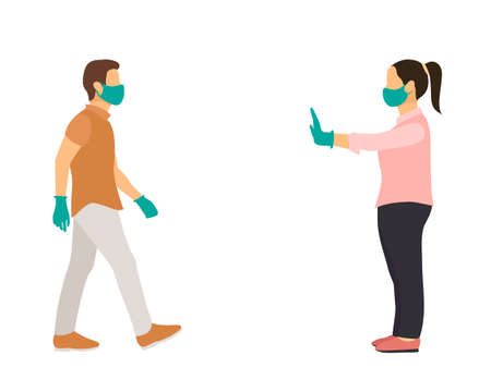 woman with mask and medical gloves warns man opposite him to keep distance. flat vector illustration.