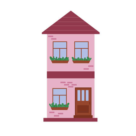 City town house vector facade face side street view city modern world house building cartoon architecture illustration