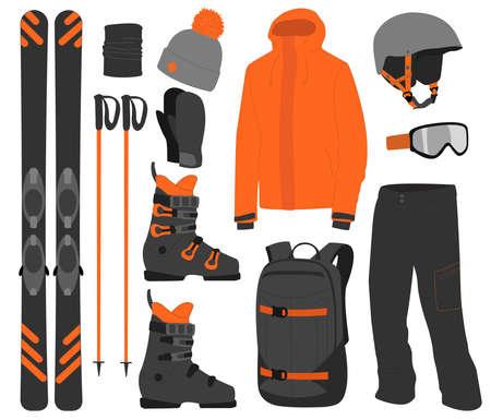 Ski equipment kit clothes vector illustration on transparent background. Extreme winter sport. Set skis and ski poles. vacation, activity or travel equipment sport mountain cold recreation. Векторная Иллюстрация