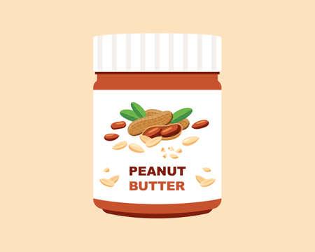A jar of peanut butter. flat vector illustration