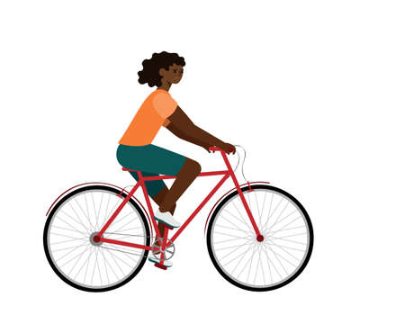 African american rider on bike. Woman in bicycle flat vector character Illustration