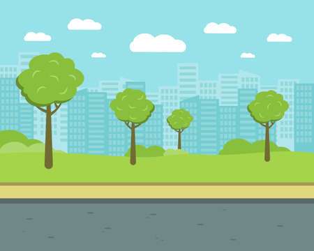 City street with trees and high-rise buildings. Park flat vector illustration