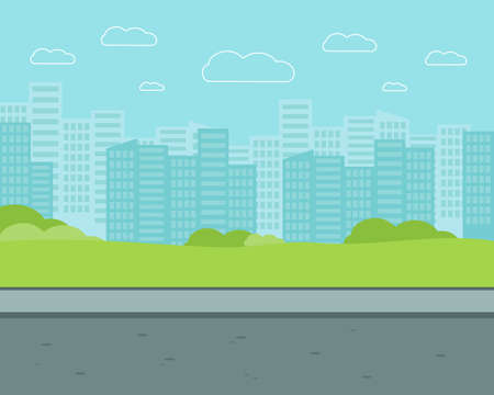 City street with high-rise buildings. Park flat vector illustration