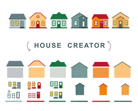 House creator. vector collection of elements roof, windows and walls.