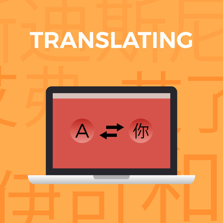 polyglot: Flat design modern vector illustration concept of translate work moment on orange background with Japanese symbols